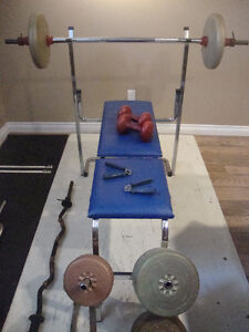 Weights, Bench, and Bars