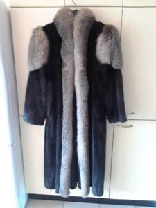 manteau vison noir et renard