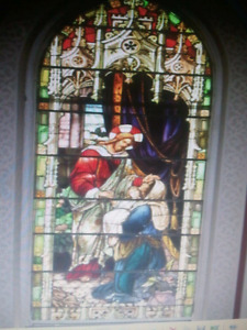 beautiful stained glass from an old church 1900s