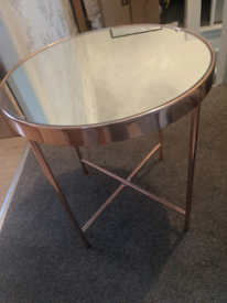 Rose gold and mirror small table