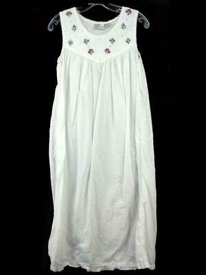Vtg Chance Encounters Nightgown Sleeveless White Beaded Floral Embroidery Size S