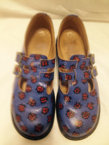 DrMartens French Blue/Ladybugs Leather DoubleStrap Shoes 10/10.5