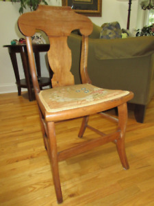 Vintage Solid Maple Chair - Needlepoint seat.