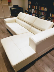Structube White Faux Leather Modular Sectional