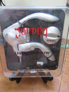 Houdini Lever Corkscrew with Foil Cutter and Extra Spiral, NEW