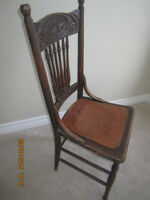 Antique Solid Oak 6 spindle Chair