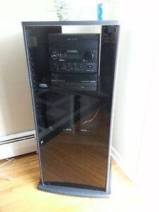 Glass Door Display Cabinet, Black - Excellent Condition
