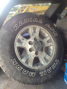 ALUMINUM RIMS AND TIRES FOR A 99.5 TO 04 NISSAN PATHFINDE