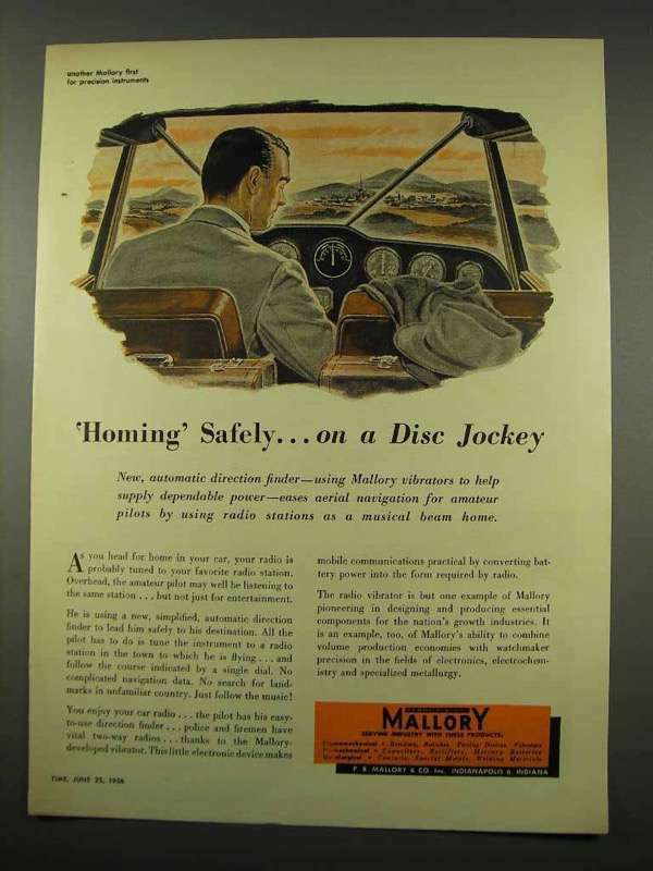 1956 Mallory Electronics Ad - Homing Safely