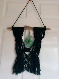 Green macrame, driftwood wall hanging, peacock