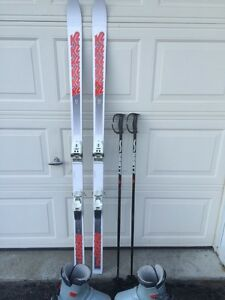 Vintage K2 skis, poles and boots (includes travel bag)