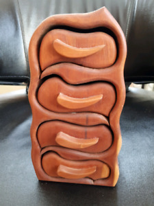 Wave jewellery or trinket carved wooden box-$95