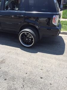 "20"" BLACK AND SILVER MSR RIMS WITH NEW TIRES!!"