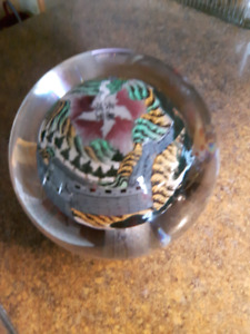 Reversed painted art glass paperweight