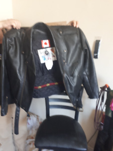 Motorcycle leather jacket, pants, and kidney belt