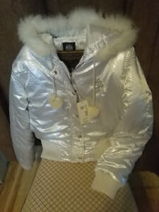 Silver jacket with hood.  Will fit small women