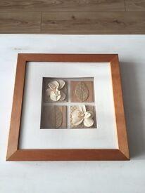 Wooden Framed Flower & Leaf Wall Display