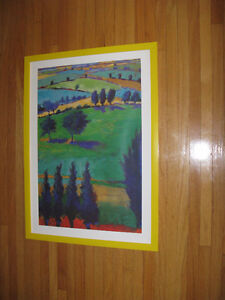 Fun & Bright Rolling Hills with Trees Art in Frame