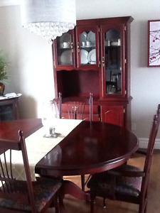Solid Cherry dining set and 2 pc buffet and hutch