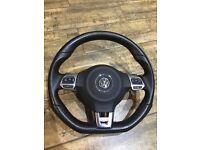 VW T5 Caddy Golf FLAT BOTTOM GTI multifunction STEERING WHEEL PADDLE SHIFT DSG red stitch