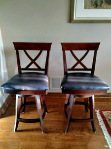 Set of two cherry stained wooden bar stools