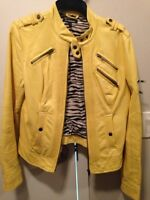 Awesome yellow le chateau leather jacket
