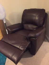 Dark brown leather reclining chair