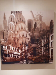 New York Empire State & Statue of Liberty Collage Canvas Print