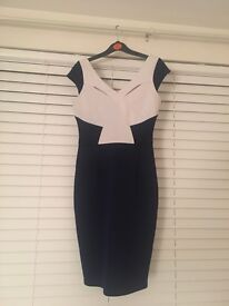 Navy blue/white Lipsy bodycon dress size 10