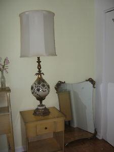 Lampe et miroir look vintage fini laiton verre et marbre