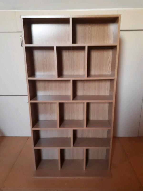 Oak Effect Shelf Unit Cd Dvd