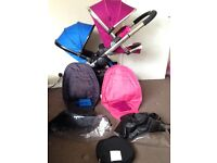 Icandy peach 3 blossom fuchsia pink/cobalt blue pushchair double twin buggy,all extras 💗💙 gorgeous