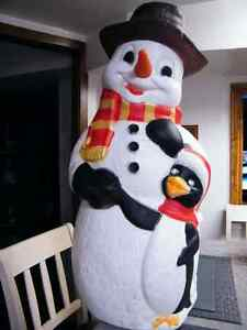 SNOWMAN BLOW MOLD WITH SCARF 34'' RARE FIND