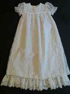 White Lace Christening/Baptismal Gown (up to 20 pounds)