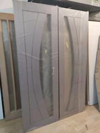 Internal Grey Salerno Double Doors Glazed (52.5 x 80)
