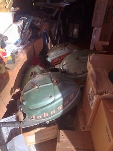 5 Vintage Johnson outboard motors. 5hp