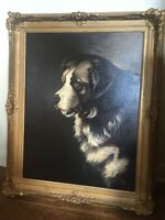 Oil large Painting Newfoundland Dog antique