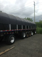 6 Axle Flatbed Rack and Tarp trailer