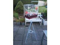Budgie cage and stand.