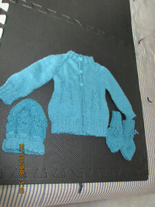hand knit sweater, hat & mitts