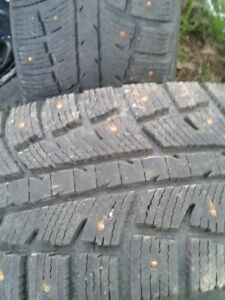 "Set of 4-225/70/16"" Studded.winter tires on rims,LOTS of tread"