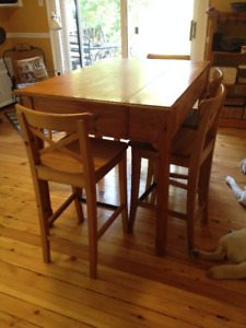 Kitchen solid wood counter height table and chairs