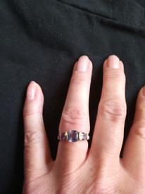 9ct yellow gold ring. Blackberry quartz. Size K