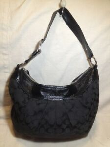 Large Black Authentic Coach Fabric/Patent Leather Hobo Purse