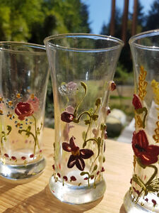 60 year old GLOWING ANTIQUE HANDPAINTED GLASSES......