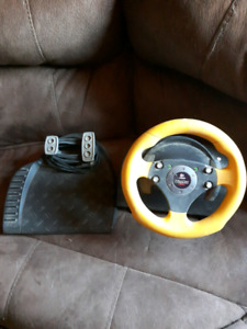 Wingman steering wheel and peddle set for computer