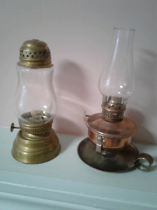 2  ANTIQUE MINIATURE OIL LAMPS