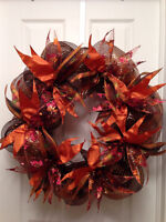 Fall Wreath - Orange and Brown