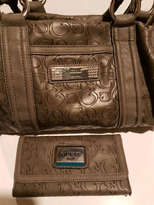 Gray Guess bag and wallet set