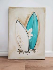 Splosh Surfboard Canvas Print by Monique